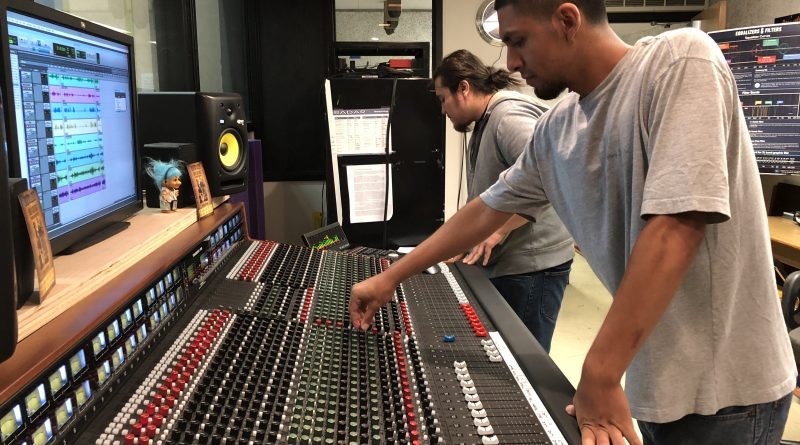 Students working with Trident 88 Console. Photo by Dana Jae Labrecque.
