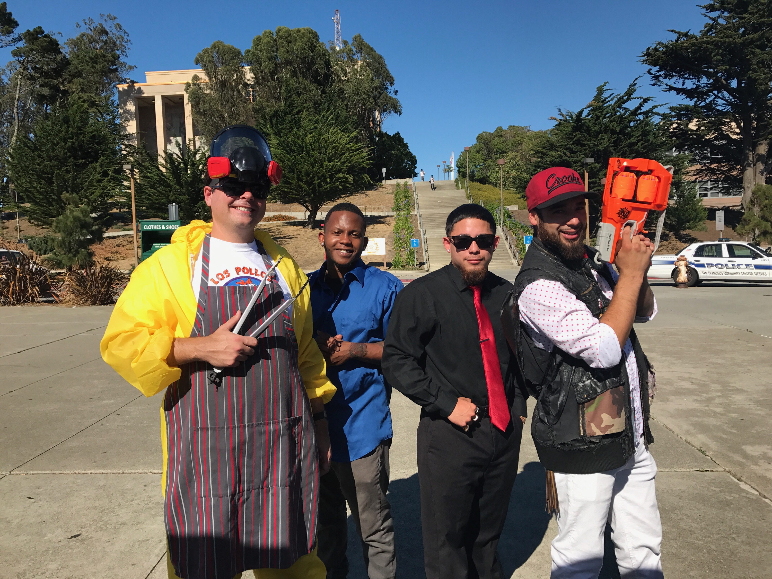 Left to right: Members of the Entrepreneurship Club, Ted Manahan, Ben Louis-Jean, Chase Lopez, Luis Miguel Bermudez Sr., Thursday, Oct. 26, 2017. (Photo by Diane Carter)