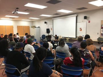 "Javier Zamora presents his book ""Unaccompanied"" to a book reading event at Mission Campus on Oct. 24, 2017. (Photo by Laurie Maemura)"