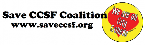 CCSF Coalition banner. www.saveccsf.org