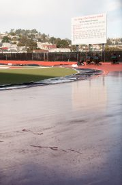 Ocean Campus track during the process of being resurfaced. Photo taken on Jan. 9, 2018 by Franchon Smith.