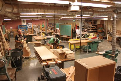Every Monday and Wednesday in Fall of 2017 the advanced carpentry class is bustling with projects from City College students on the second floor of the Evans Campus. O'Mahoney is one of them, though not present in this photograph. Photo taken by Bethaney Lee on Nov. 6, 2017.