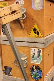 Prof. Raymond Cash is not only a carpenter but avid astronomer. Near a dangling saw and plastered in the middle right of Cash's tool box is a sticker boasting two telescopes that he has built himself.  Photo taken on Nov. 13, 2017.