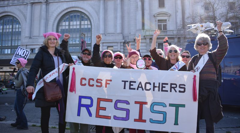 City College teachers protested in the Women's March in San Francisco on Jan. 20, 2018.  Photo by Veronica Steiner/The Guardsman.