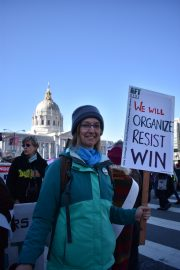 Jessica Buchsbaum, a City College ESL instructor and AFT 2121 secretary, protesting in the Women's March in San Francisco on Jan. 20, 2018. Photo by Veronica Steiner/The Guardsman.