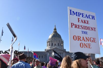 Demonstrators protesting in the Women's March in San Francisco on Jan. 20, 2018.  Photo by Veronica Steiner/The Guardsman.