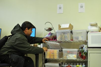 Mark Dennis a Forestry and Sustainability major student comes to the H.A.R.T.S (Homeless At Risk Transitional Students) office twice a day everyday to get a snack. January 18, 2018. (Photo/Janeth R. Sanchez)