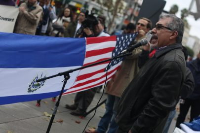 """Immigration advisor and radio host Ramon Cardona speaks during a """"Save TPS"""" rally held in front of the San Francisco Federal Building. January 5, 2018. (Photo/Alexis Terrazas)"""