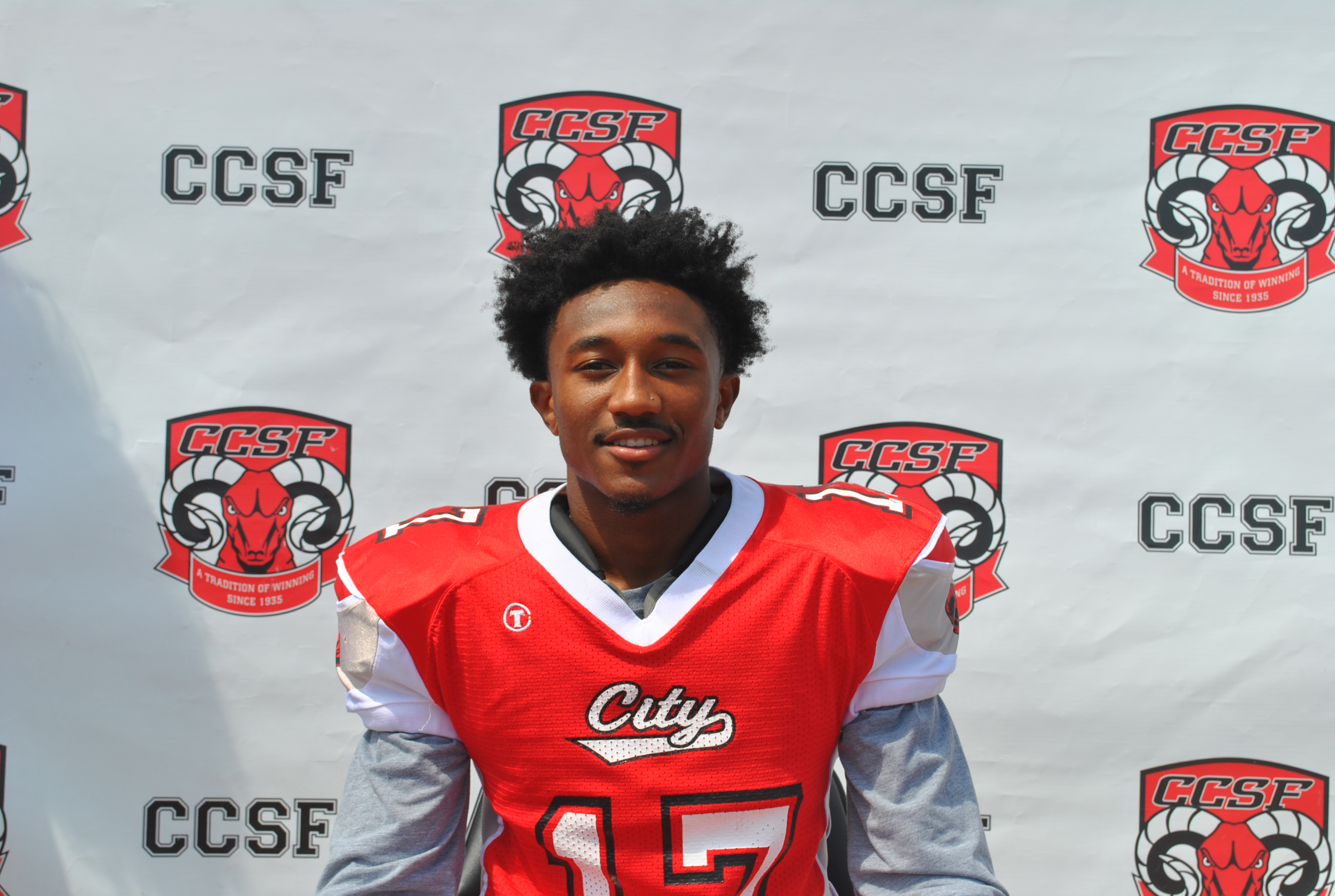 Defensive Back Bejour Wilson (#17) both sign with Liberty University. Photo courtesy of CCSF Athletics Department.