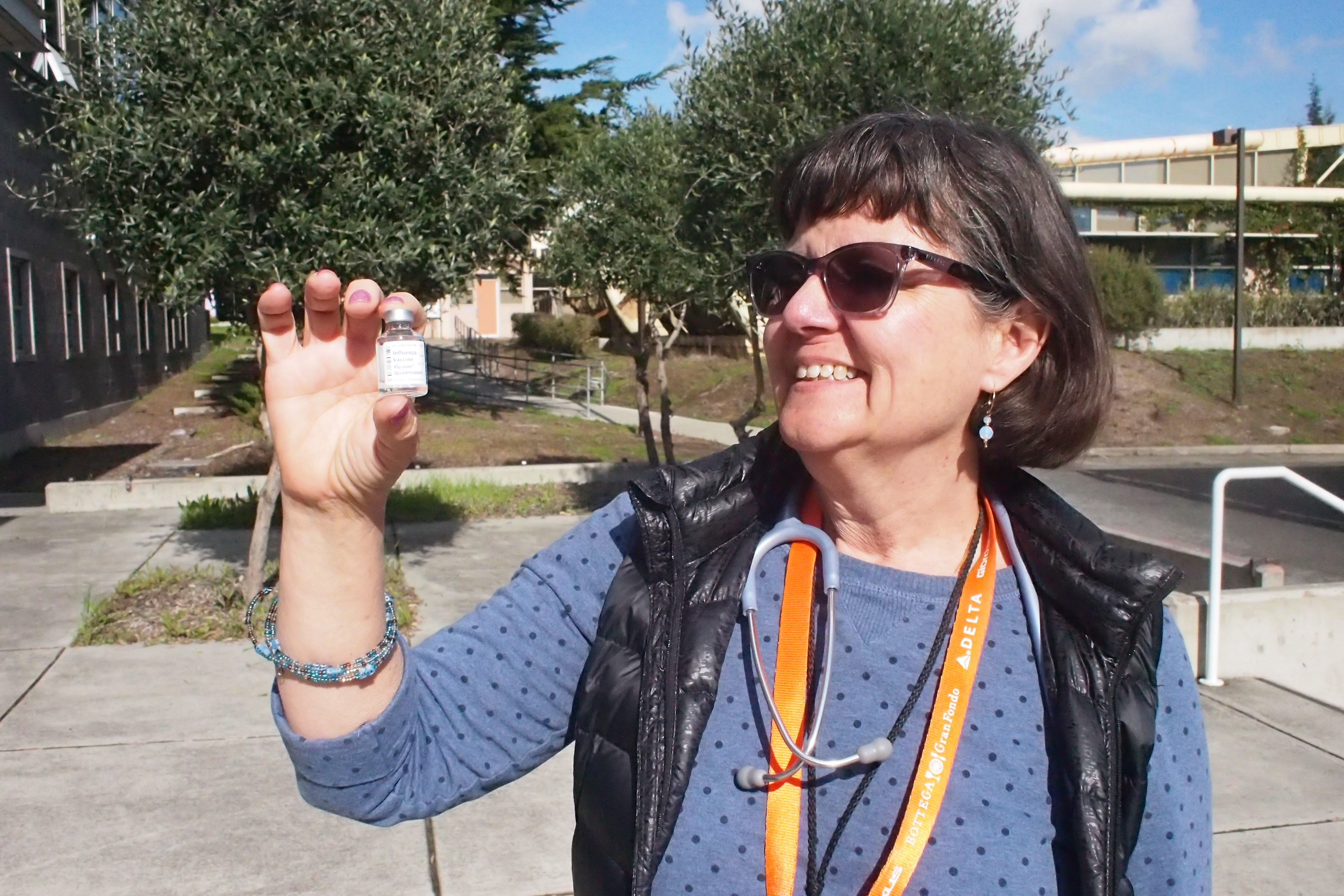 Jan. 24, 2018. Nurse Paula Cahill holding a vial of the influenza vaccine made available to students in front of Health Services at the City College Ocean campus. Photo by Cameron Ehring/The Guardsman