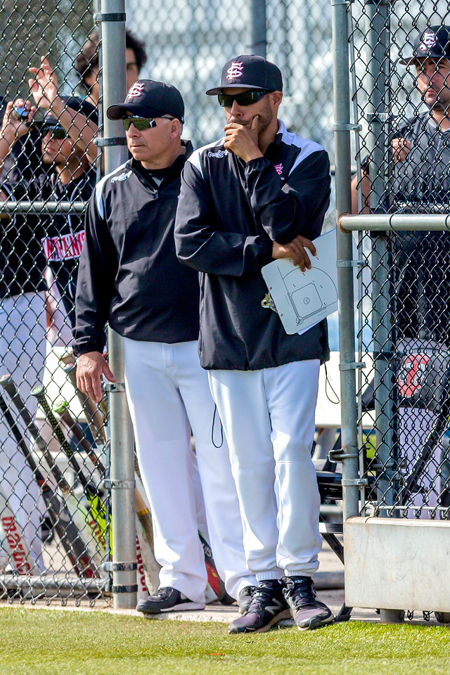 The Rams Interim Head Coach Mario Mendoza surveys the field during double header versus Siskiyous College on Feb. 10, 2018. Photo by Eric Sun/special to The Guardsman.