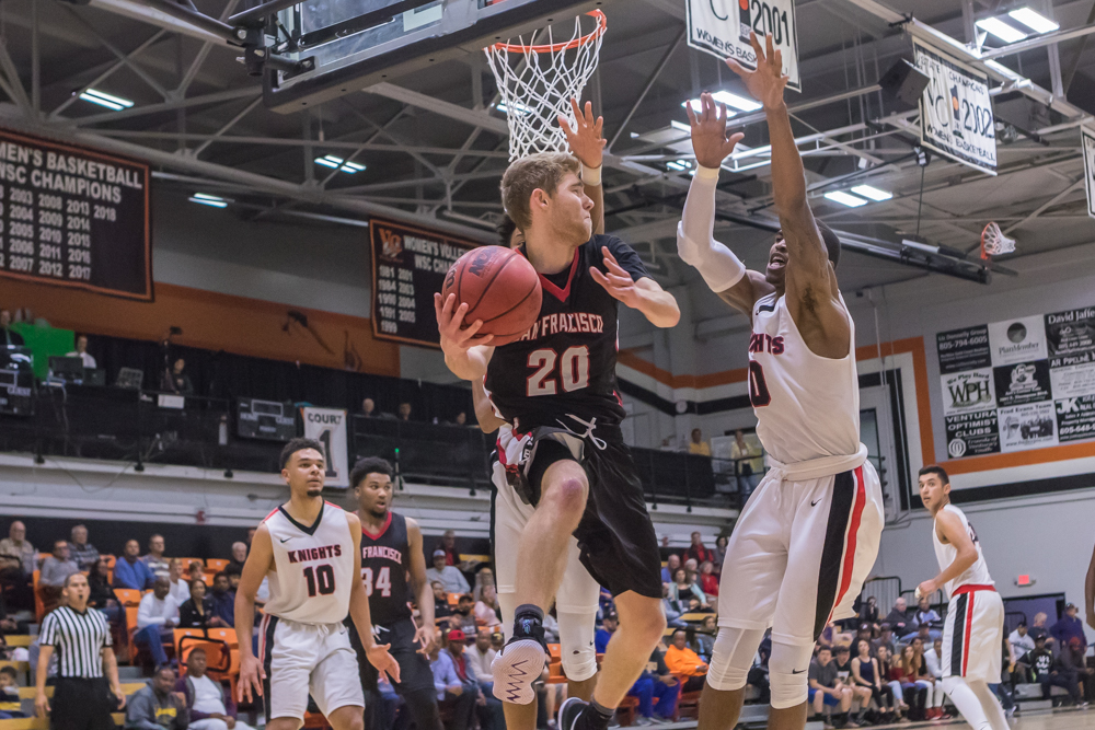 Sophomore guard Curtis Witt (#20) looks for an outlet pass under the basket. Photo by Peter Wong/Special to The Guardsman.