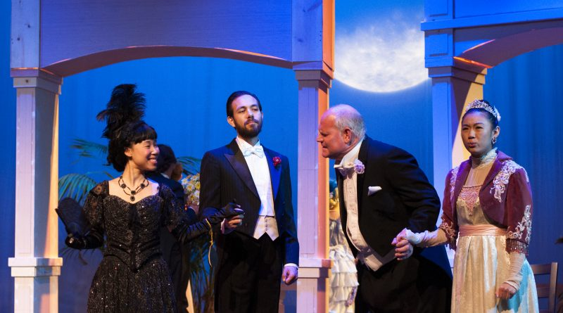 Violet Yung (left to right) as Lady Agatha Carlisle, Alixandra Todd as Lady Windermere, Lisa Bettini as The Duchess of Berwick and Robert Ayala as Lord Darlington during the dress rehearsal of the production Lady Windermere's Fan directed by John Wilk at The Diego Rivera Theater in Ocean campus on Wednesday Feb. 27, 2018. Photo by Janeth R. Sanchez/The Guardsman.