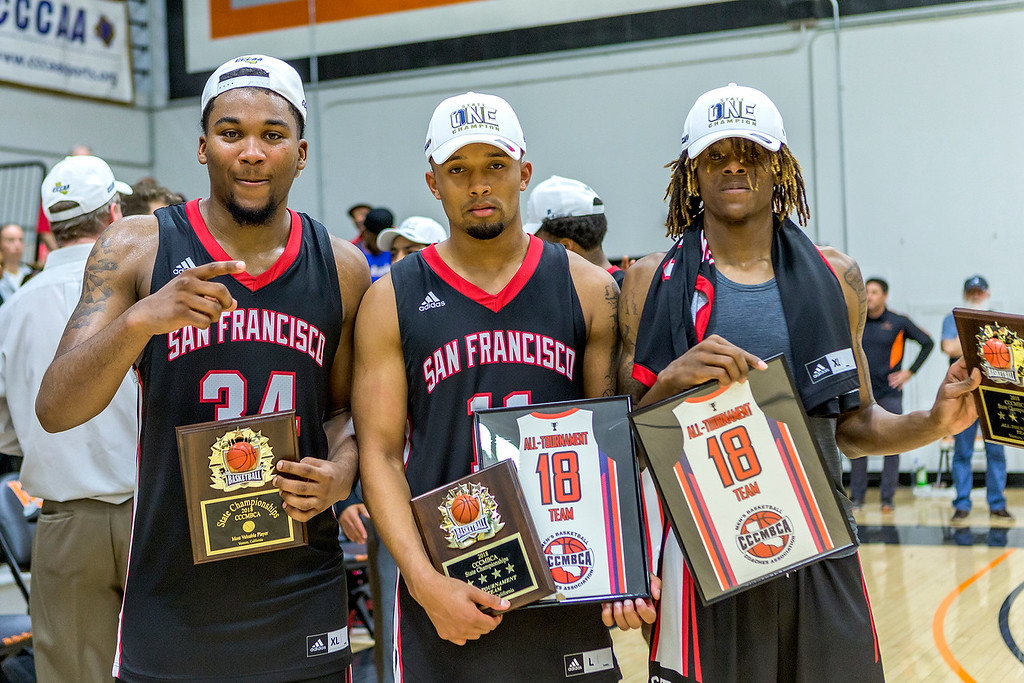 The Rams players sophomore forward Lewis Hayes (#34), left, sophomore guard Eddie Stansberry, center, and sophomore guard Terrell Brown show off their State Title plaques on March 13, 2018. Photo by Peter Wong/Special to The Guardsman.
