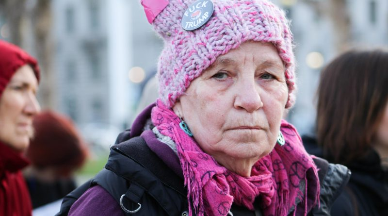 """I'm anti-war and a feminist,"" said 74-year-old Nancy Keiler of Code Pink, an organization dedicated to issues of peace and social justice, at Civic Center Plaza in San Francisco on March 8, 2018. Photo by Adina J. Pernell/Special to The Guardsman."