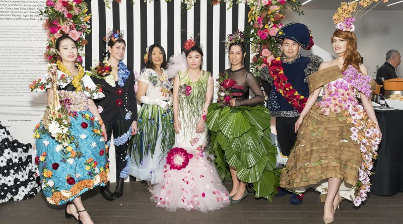 L to R: Junghwa Han, Betsy Herczeg-Konecney, Lina Woo, Yoeng Sum Park, Liberty S. Velez, Sam Lee, and Natalia Wierzba model the designs of City College floristry students Dahee Han, Shari Wilk, Lina Woo, Bora Yoo, Rosa Mendoza, Summer Kwak, and Armando de Loera Mejia respectively on March 12, 2018. Photo by Drew Altizer/Courtesy of the Fine Arts Museum of San Francisco.