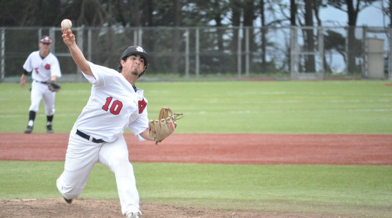 The Rams pitcher Jesse Stein delivers a pitch during April 5, 2018 games against De Anza College. Photo by Peter J. Suter/The Guardsman.