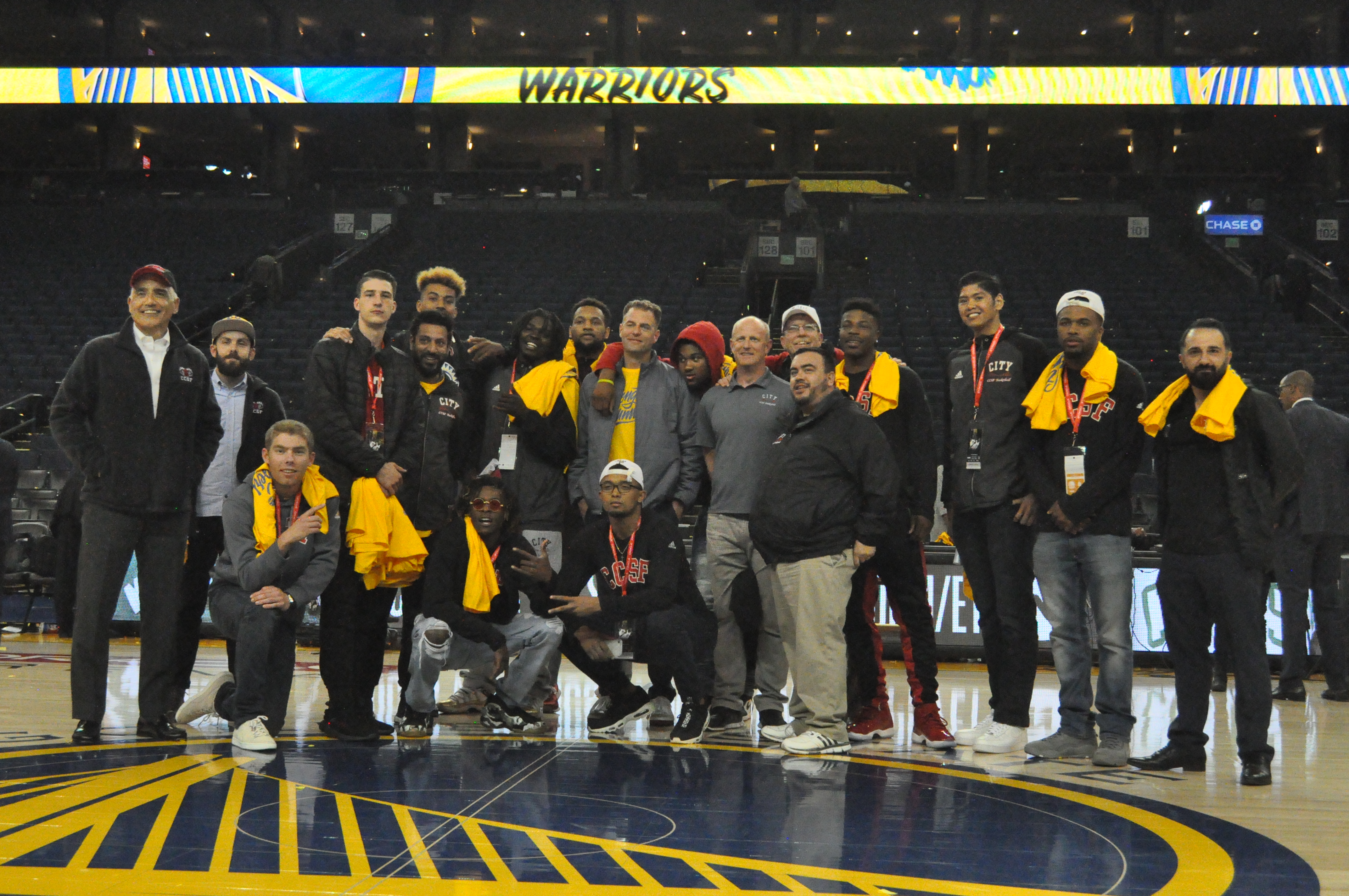 Rams basketball team along with Chancellor Rocha (far left) and Board of Trustee Tom Temprano (right of Rocha) gather one last time center court after Warriors Game 2 playoff match-up against Spurs on April 16, 2018.  Photo by Peter J. Suter/The Guardsman.