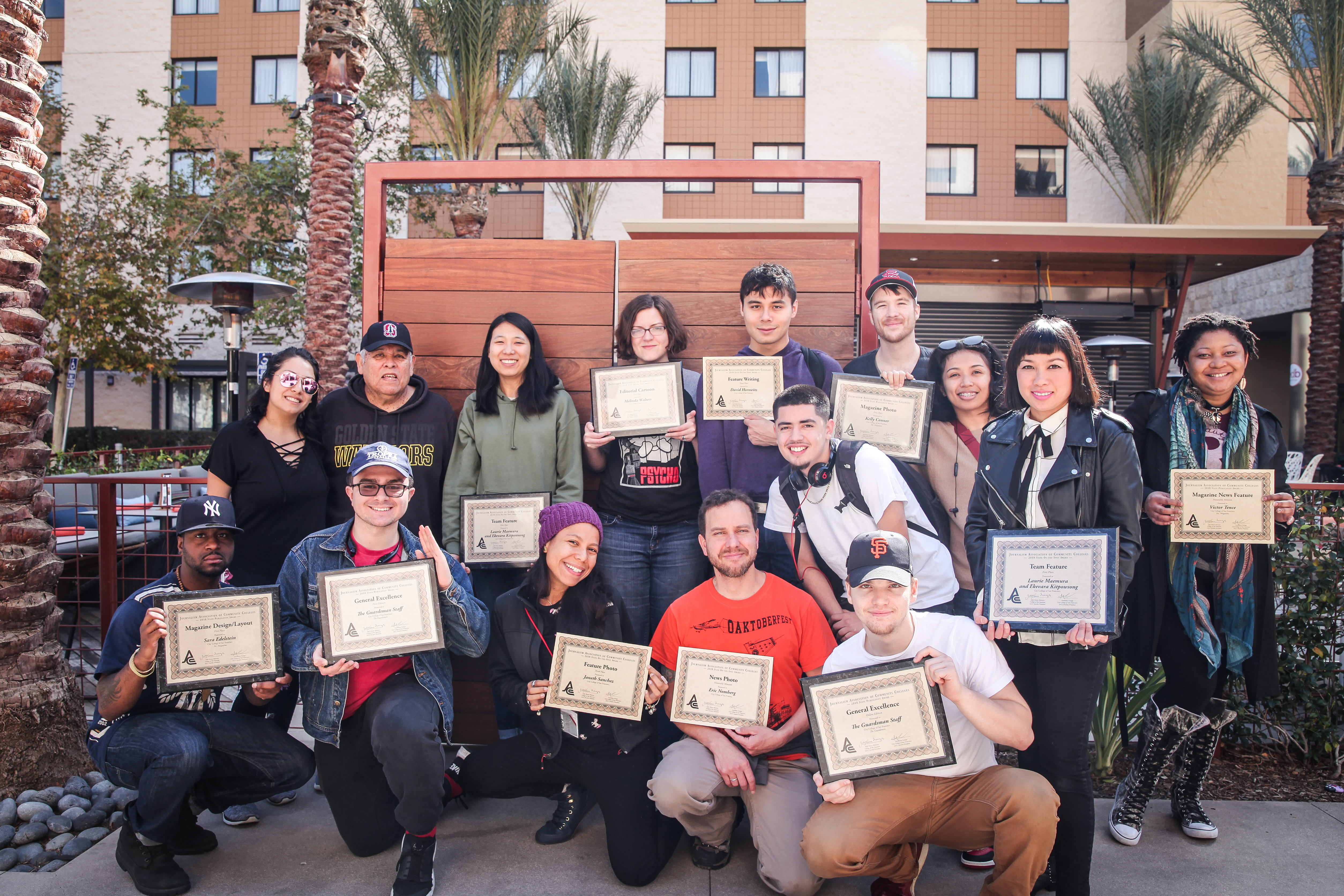 Journalism students from The Guardsman and Etc. Magazine pose for a group shot with awards they received from the JACC State Convention on Sunday, March 25, 2018 in front of Los Angeles Marriott Burbank Airport in Burbank, Calif.