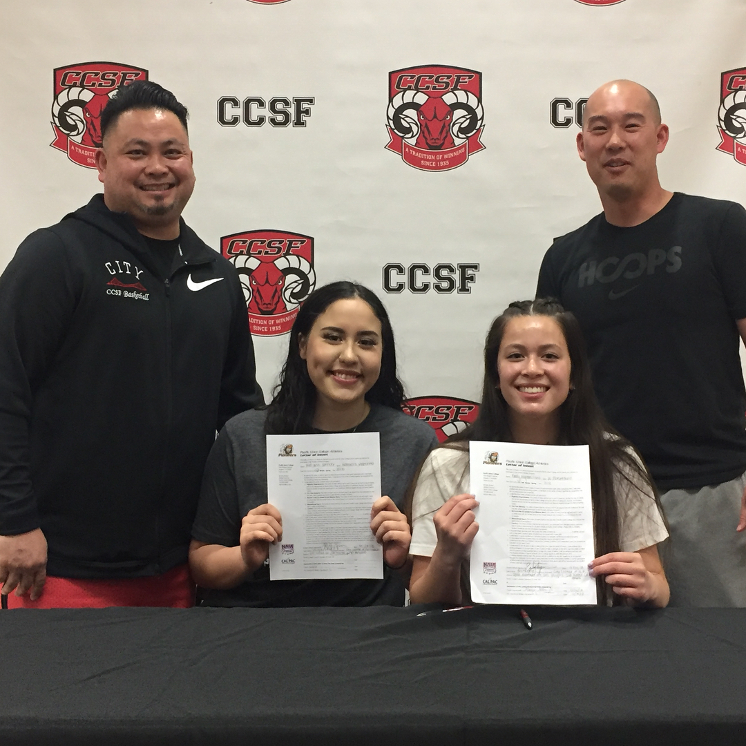 Eric Love, left to right, Helen Spencer, Emily Nepomuceno, and Derek Lau sit-in during signing day on April 24, 2018. Photo courtesy of CCSF Athletic Department.