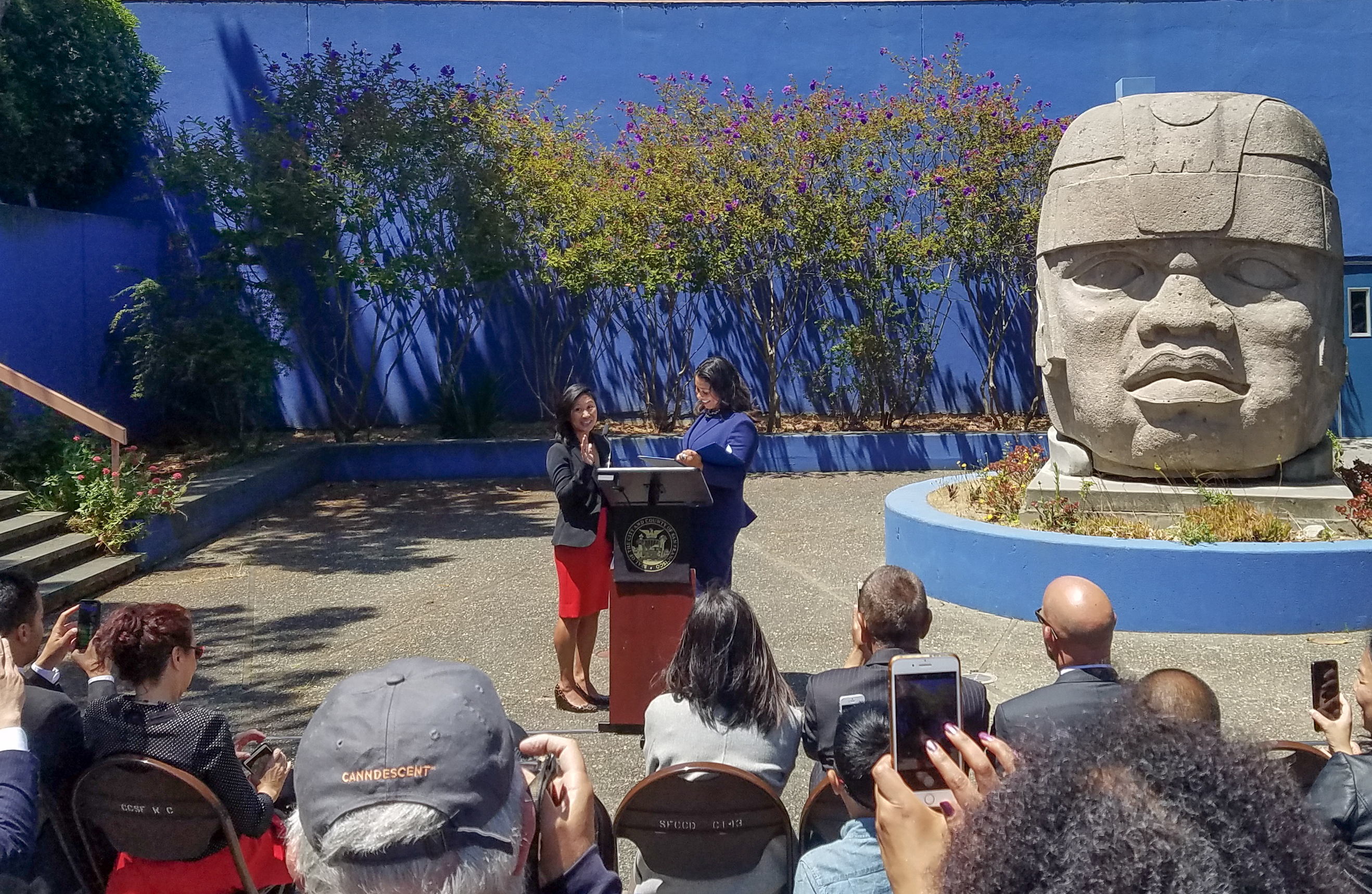 Mayor London Breed appoints Ivy Lee, previously the chief of staff and a legislative aide to District 6 Supervisor Jane Kim, to City College's Board of Trustees on July 20 in Diego Rivera Theatre's courtyard. (David Mamaril Horowitz / The Guardsman)