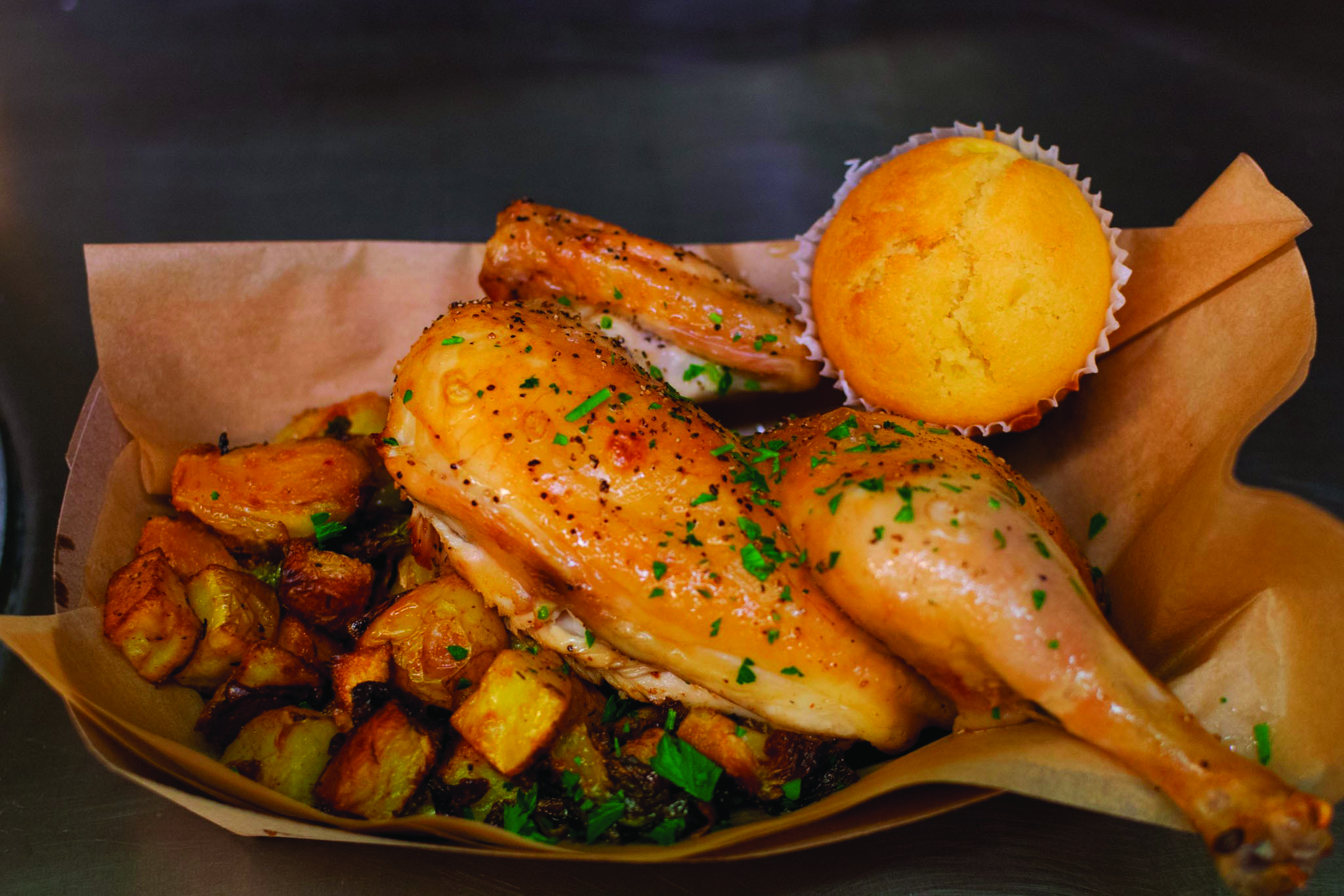 One of the many dishes served at the Culinary Arts and Hospitality program's new restaurant is a 3-piece roast chicken dish served with seasoned potatoes and corn bread. September 6, 2018 Photos by Cliff Fernandes/The Guardsman