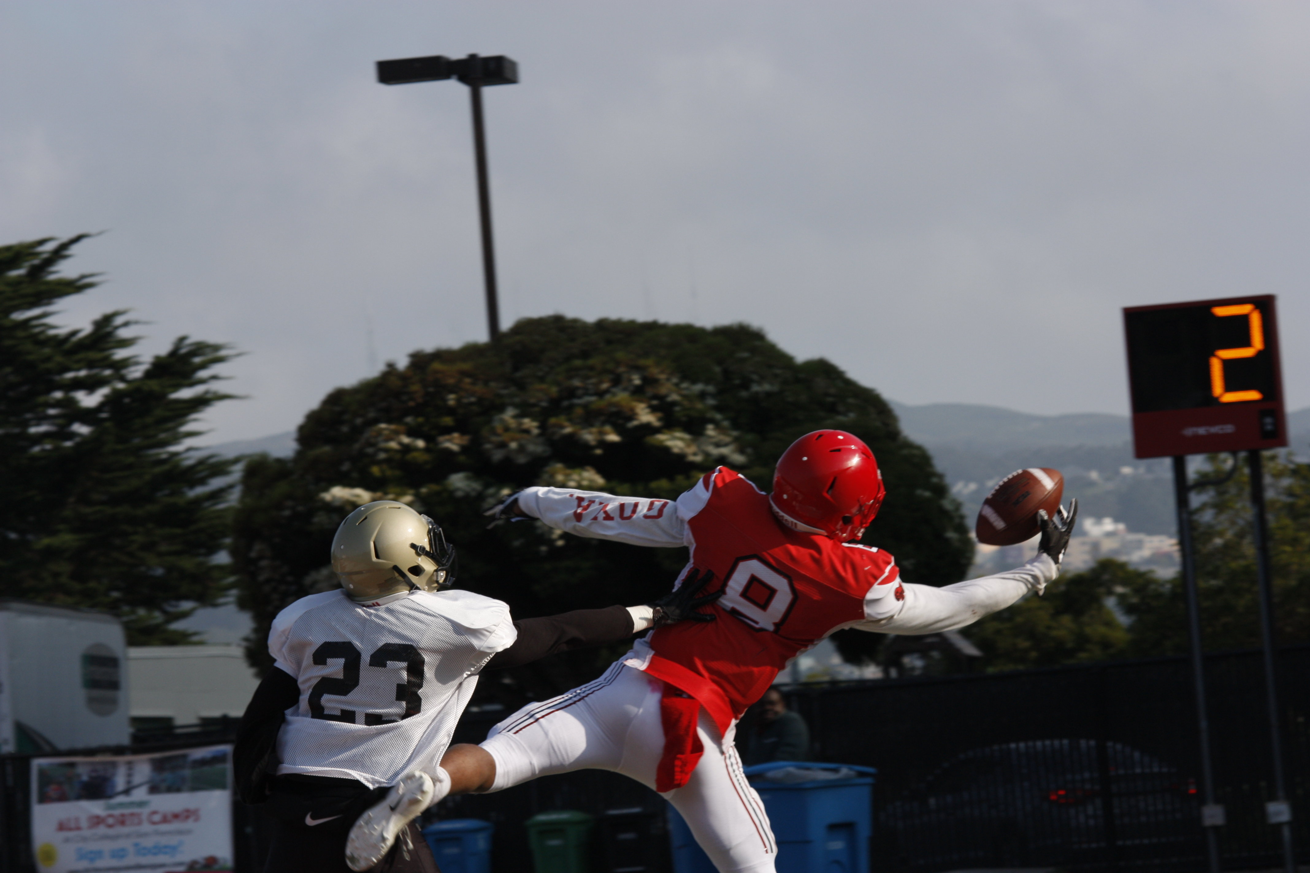 City College wide reciever freshman Christian Willis (#8) makes a one handed catch against San Juan Delta College on Wednesday August 22, 2018. Photo by Peter J. Suter/The Guardsman