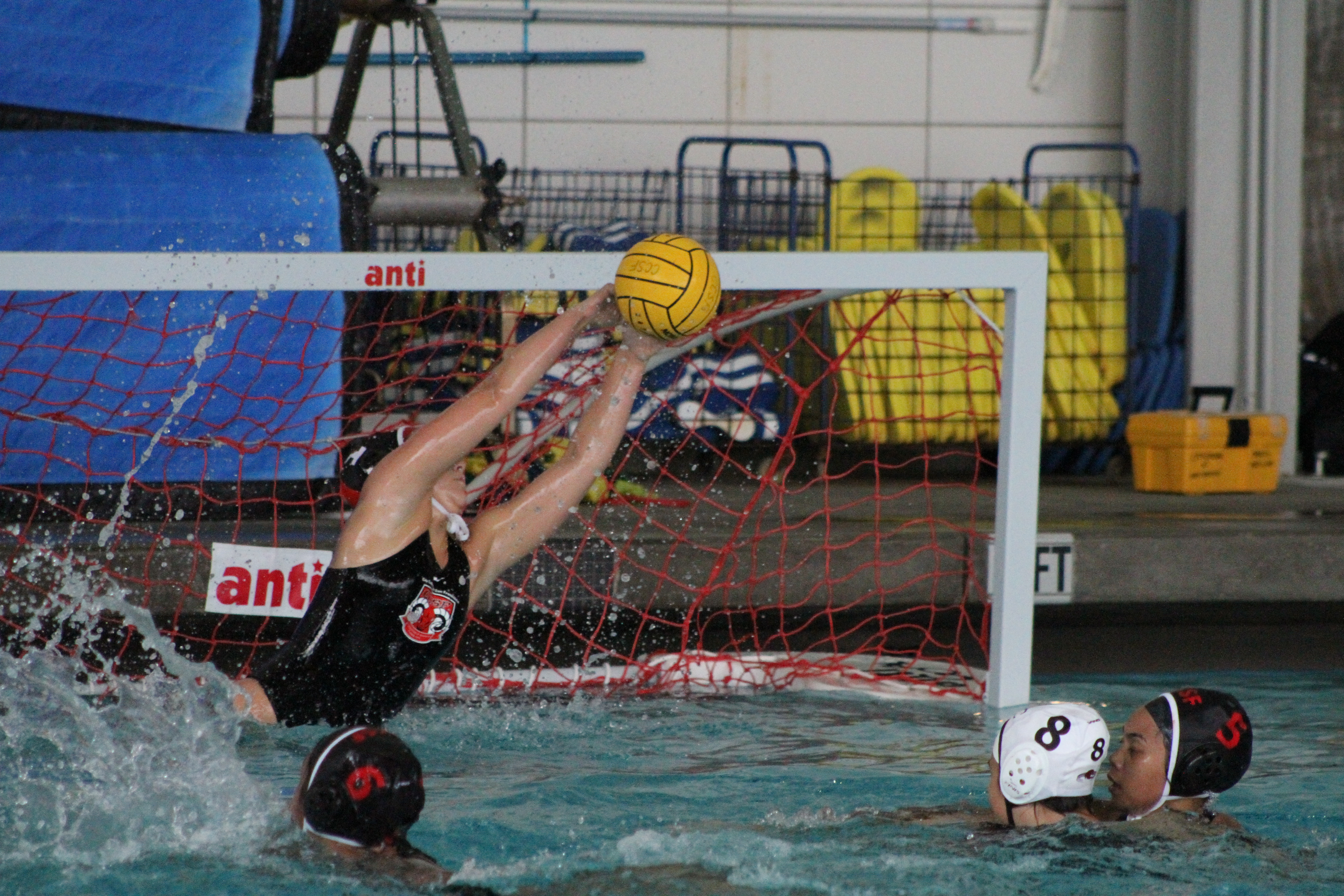 Goalie Ella Maisano (#1) makes a diving block against Los Positas on Friday, Sept. 21, 2018. Photo by Peter J. Suter