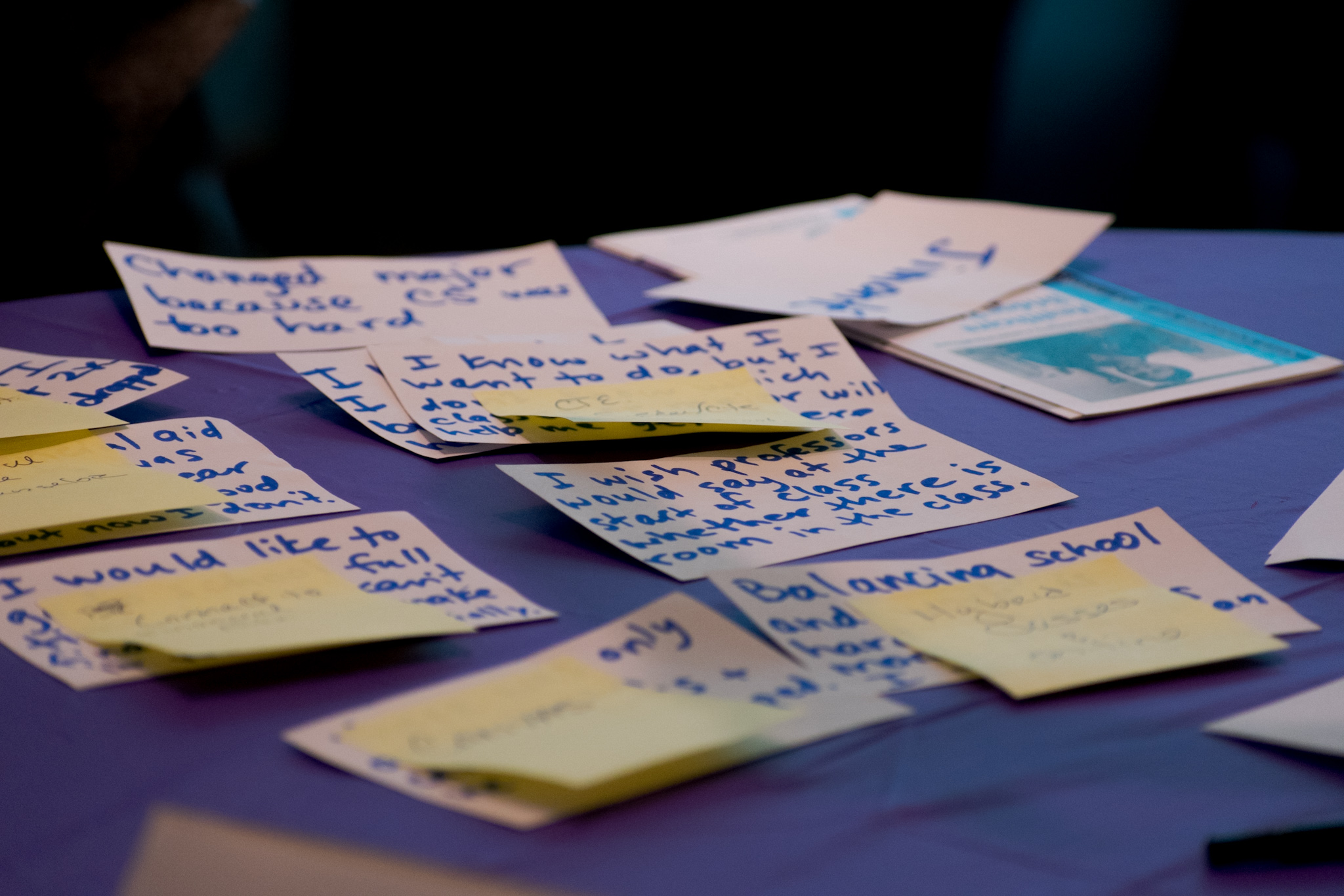 Student Jimonte Johnson expresses his school-related concerns on index cards. In response, members of the college community direct him to resources that they write on post-it notes. Photo by Cliff Fernandes/The Guardsman